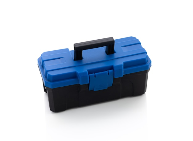 Plastic toolbox on white isolated