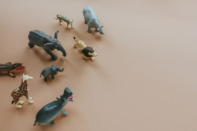 Plastic toy figures of animals. concept of nature protection.