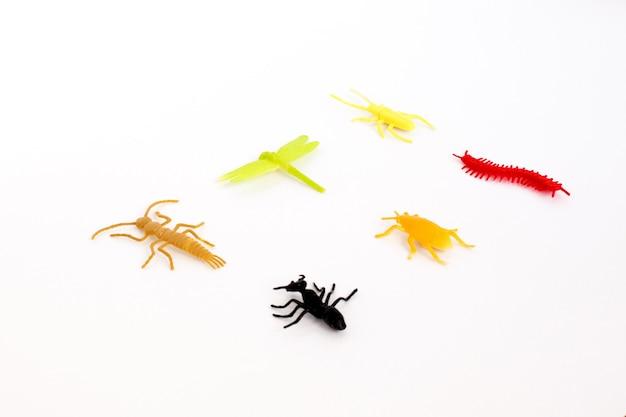 プラスチックのおもちゃの昆虫(オレンジ色のカブトムシ、緑の毛虫、赤いムカデまたはヤスデ、黒い蟻)分離、クローズアップ。