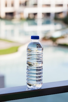 Plastic transparent bottle of drinking mineral water