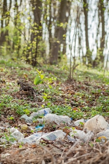 숲에서 플라스틱 쓰레기. 집착 된 자연. 잔디에 누워 플라스틱 용기