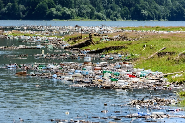 Plastic and trash pollution on bicaz lake