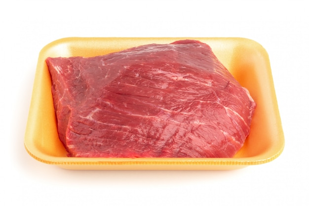 Plastic tray with raw beef