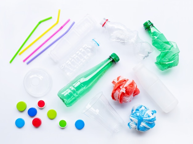 Plastic waste on white background.