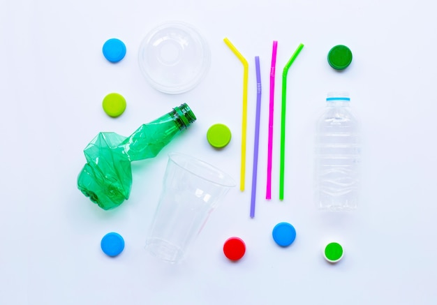 Plastic waste on white background.