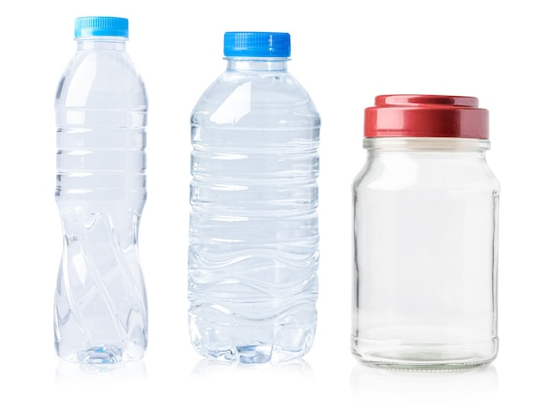 Plastic water bottle isolated on white background with clipping path.