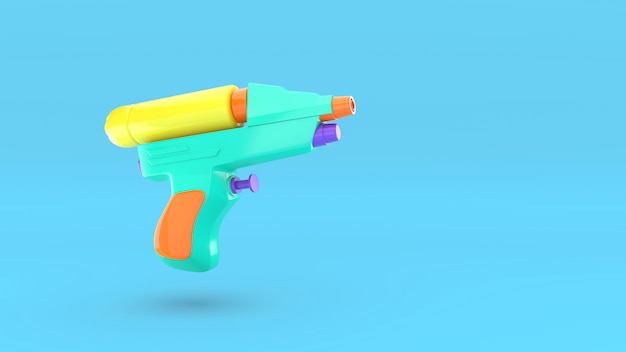 Plastic water gun isolated. 3d render