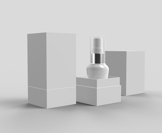 Plastic white bottles with box 3d rendering realistic isolated mockup
