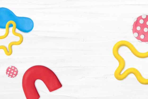 아이들을 위한 흰색 다채로운 테두리 diy 크리에이 티브 아트에 플라스틱 점토 무늬 배경