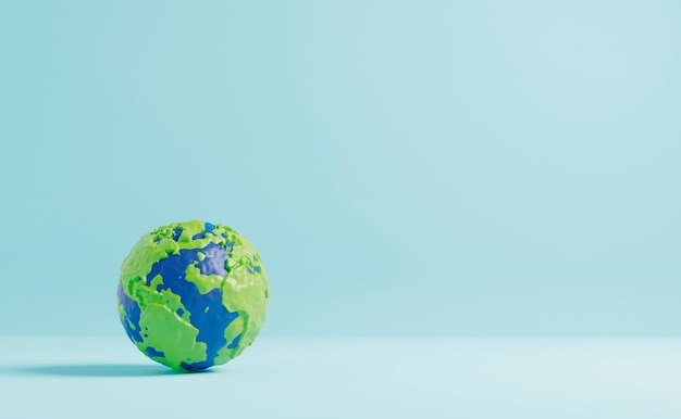 Plasticine earth on color paper background minimal style 3d render