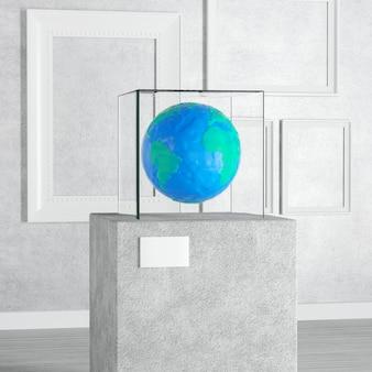 Пластилиновый земной шар над пьедесталом, сценой, подиумом или колонной со стеклянным кубом витрины в художественной галерее или музее на белом фоне. 3d рендеринг