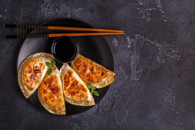 Plate of asian gyoza, dumplings snack