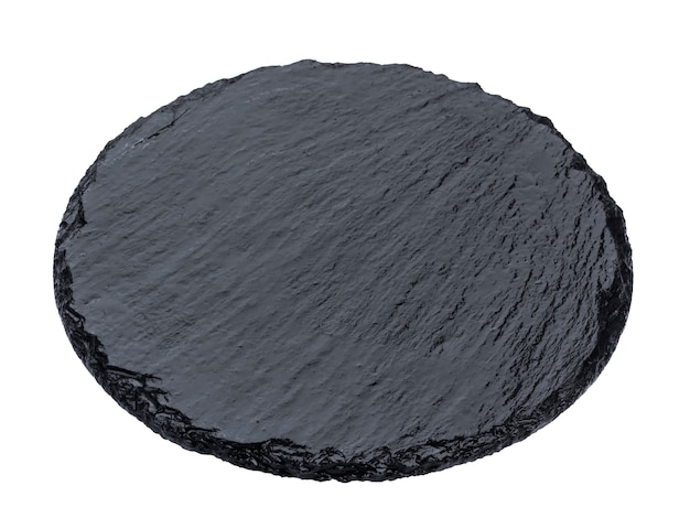 Plate of black slate isolated on white