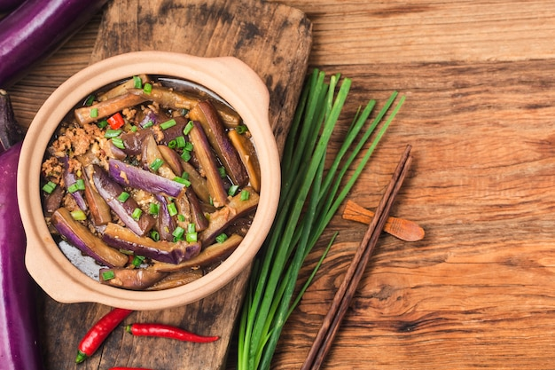 A plate of braised eggplant