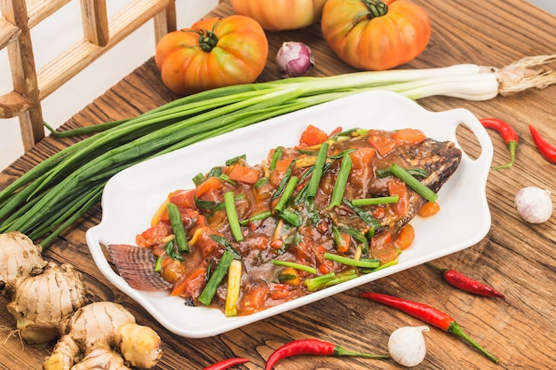 A plate of braised tilapia