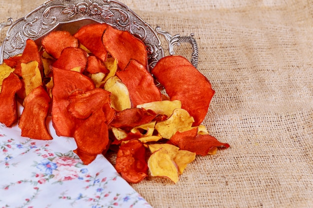 Plate of colorful organic vegetable chips with