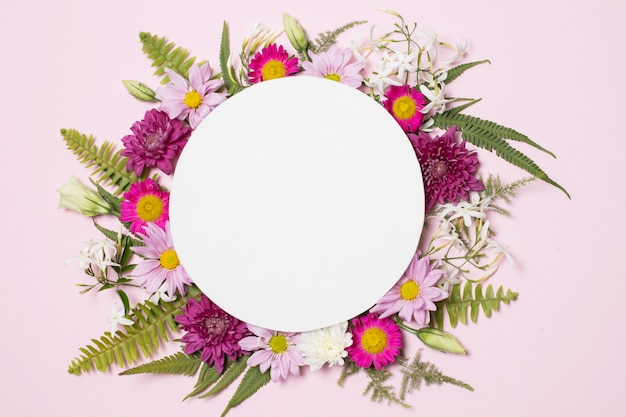 Plate on composition of wonderful flowers and plants
