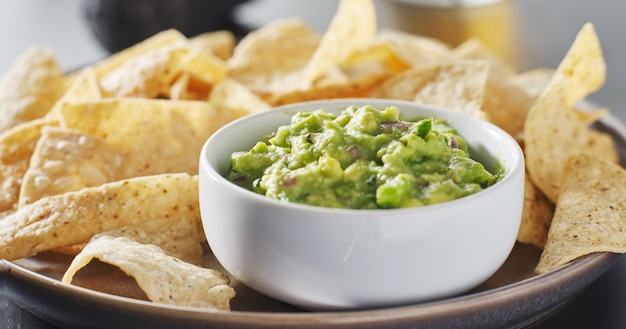 Plate of corn tortilla chips with guacamole dip