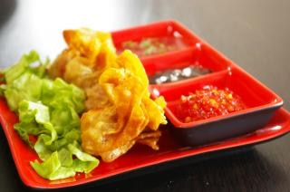 Plate of dim sum, fried