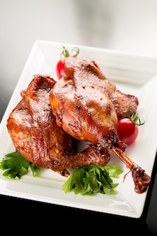 Plate of duck meat