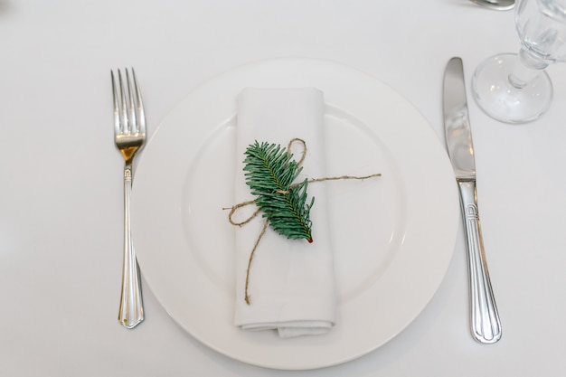 A plate, a fork and a knife on the table.