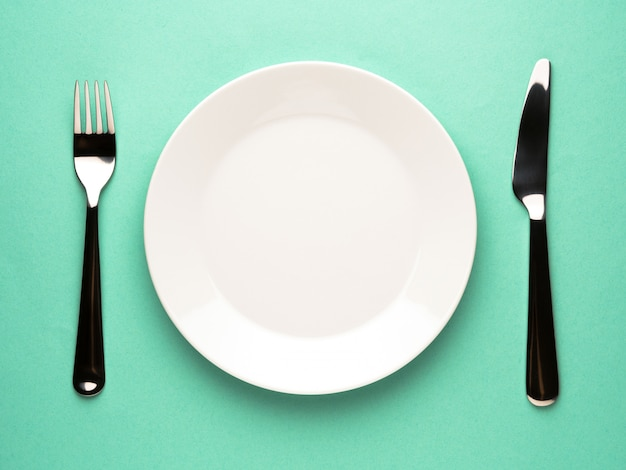 Plate, fork, knife
