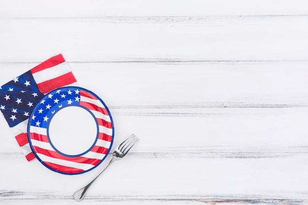 Plate fork and napkin with american flag