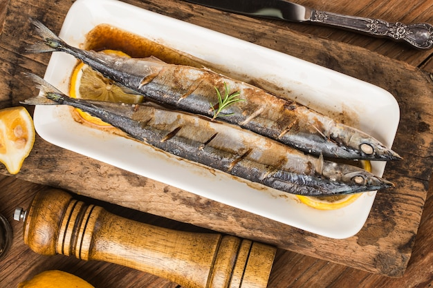 A plate of fresh barbecue saury
