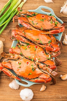 A plate of fresh redspot swimming crab