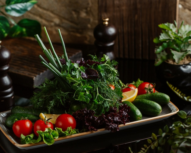 A plate of fresh seasonal vegetables including tomatoes, cucumbers and variety of greenery