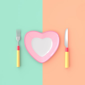 Plate heart shape with knife and fork pastel color. love idea concept, 3d render.