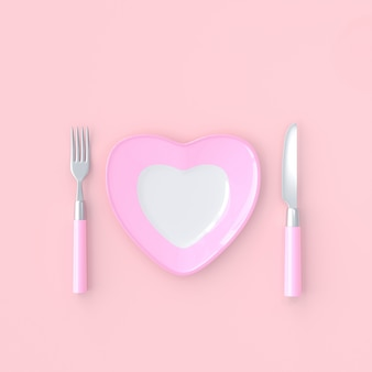 Plate heart shape with knife and fork pink color. love idea concept, 3d render