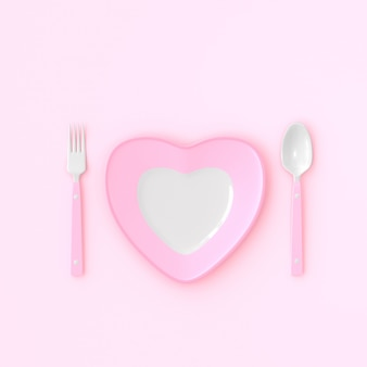 Plate heart shape with spoon and fork pink color. love idea concept, 3d render.