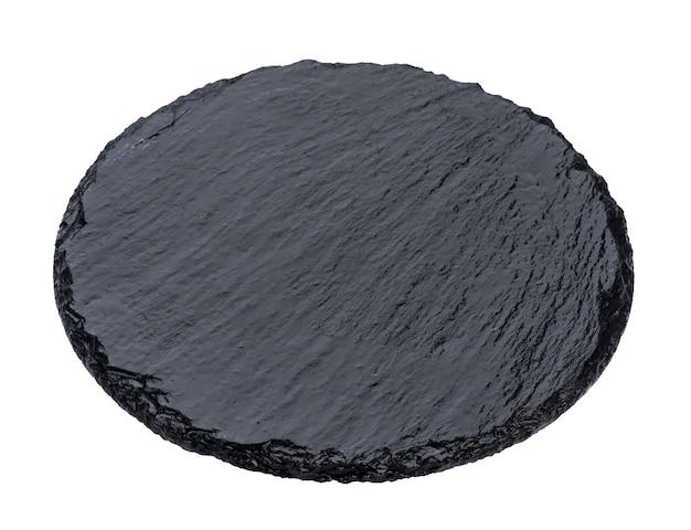Тарелка черного сланца, изолированные на белом