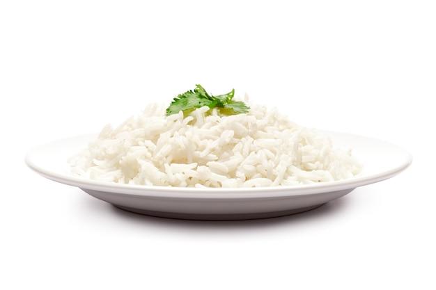 고립 된 삶은 쌀 접시
