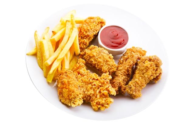 흰색 절연 프라이드 치킨 접시