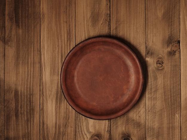 나무 테이블에 접시 - 평면도