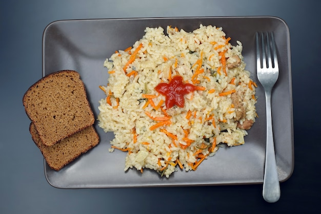 Plate of pilaf on top