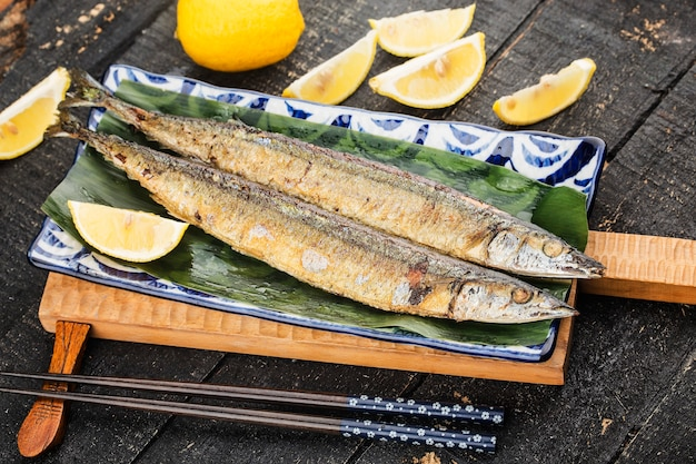 A plate of roasted saury