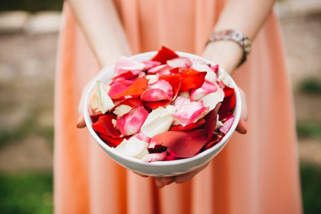 A plate of rose petals in the hands of the girl before the wedding ceremony and the exit of the bride and groom