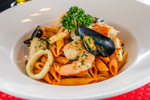Plate of sea food pasta.