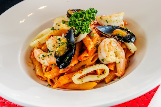 Plate of sea food pasta