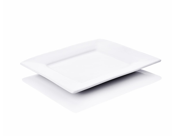Plate square empty on white background