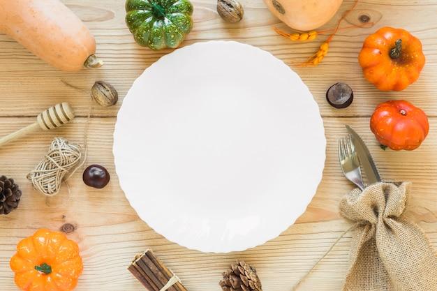 Plate between vegetables
