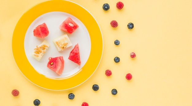 Plate of watermelon and muskmelon slices on plate with blueberries and raspberries on yellow background