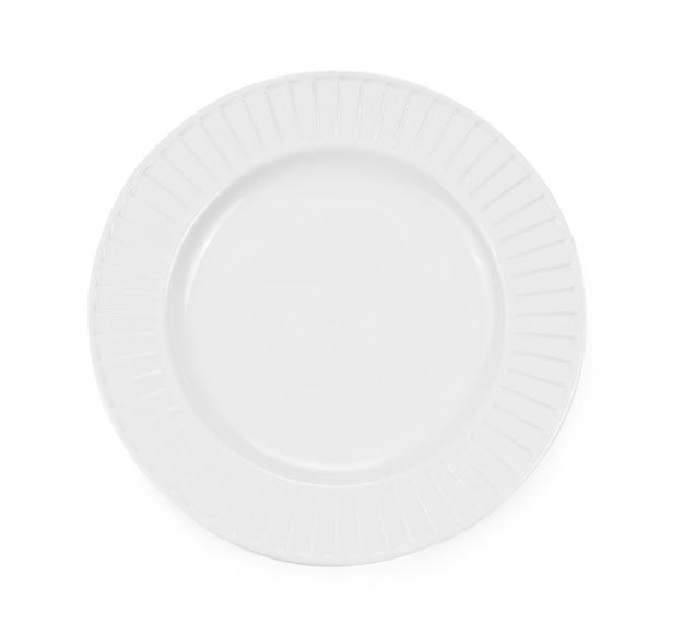 Тарелка белая пустая, изолированные на белом фоне.