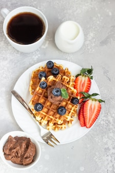 Plate with belgian waffles with chocolate sauce and mint on a light gray background