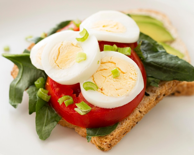 Plate with boiled egg and tomatoes sandwich