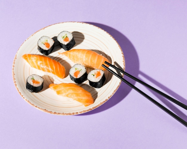 Plate with delicious variety of sushi