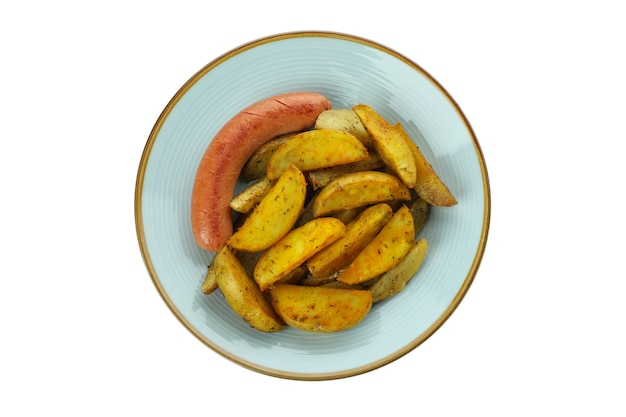 Plate with fried potato and sausage isolated on white background